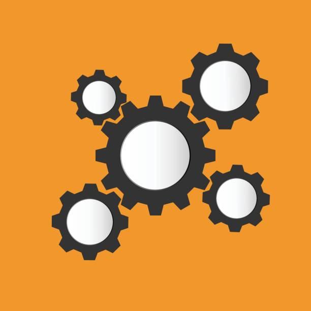 Vektor-Illustration Zahnräder Teamarbeit Vorlagenhintergrund – Vektorgrafik