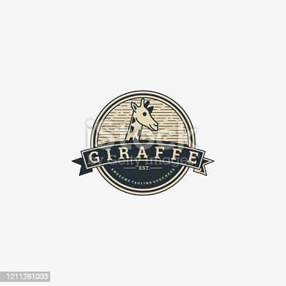 istock Vector Illustration Giraffe Head Vintage Badge Style. 1211261033
