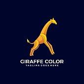 Vector Illustration Giraffe Jump Gradient Colorful Style.