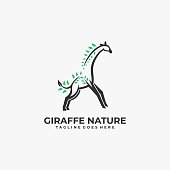 Vector Illustration Giraffe with leaves Mascot Line Art Style.