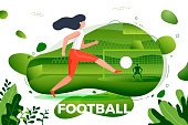 Vector illustration - girl football player. Goalkeeper and stadium with scoreboard on background. Banner, site template with place for your text.