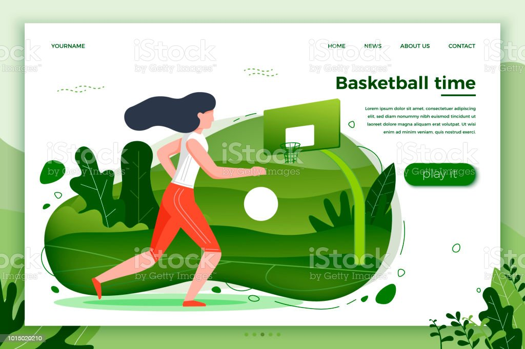 Vector illustration -  girl playing basketball vector art illustration