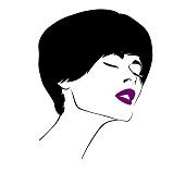 Vector illustration - portrait of a girl with closed eyes with bright lipstick in sketched style