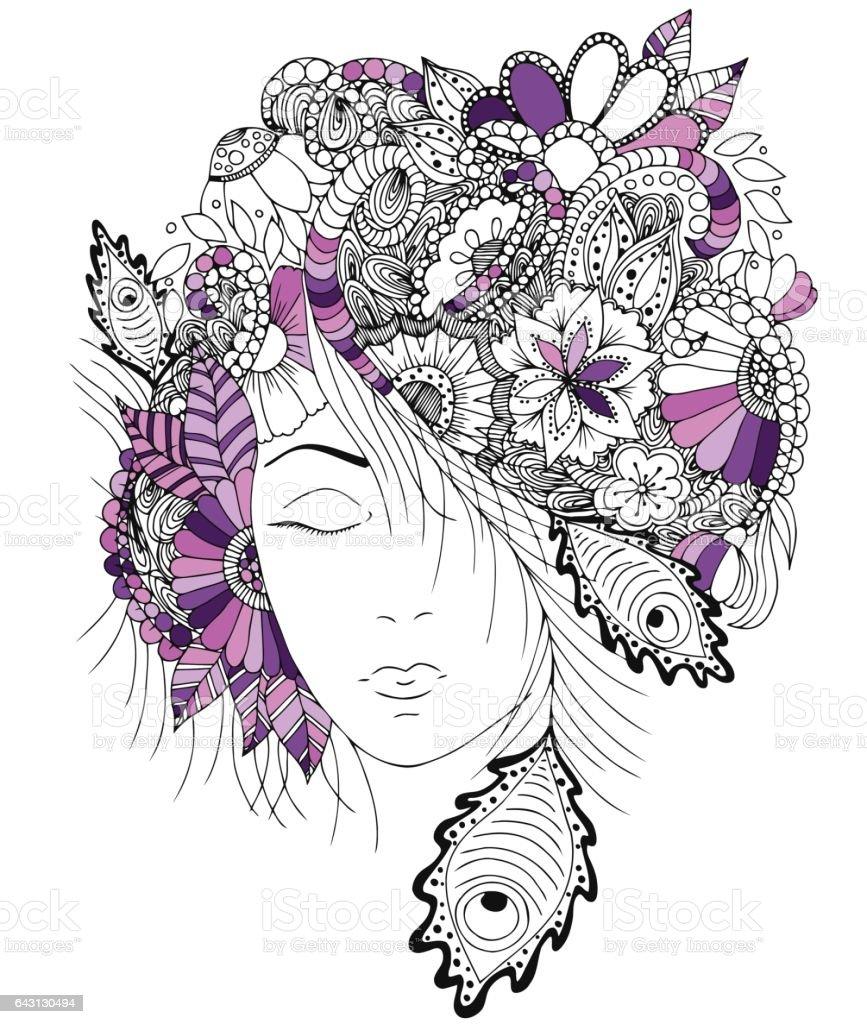 花と彼女の頭の上のカタツムリのベクトル イラスト女の子
