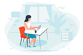 Vector illustration - girl working at home, office. Window, plant, pictures on background. Banner, poster template with place for your text.