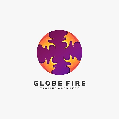 Vector Illustration Globe Fire Gradient Colorful Style.