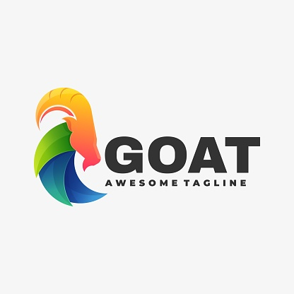 Vector Illustration Goat Gradient Colorful Style.