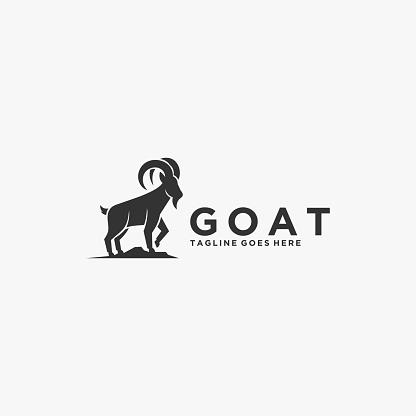 Vector Illustration Goat Silhouette Style.