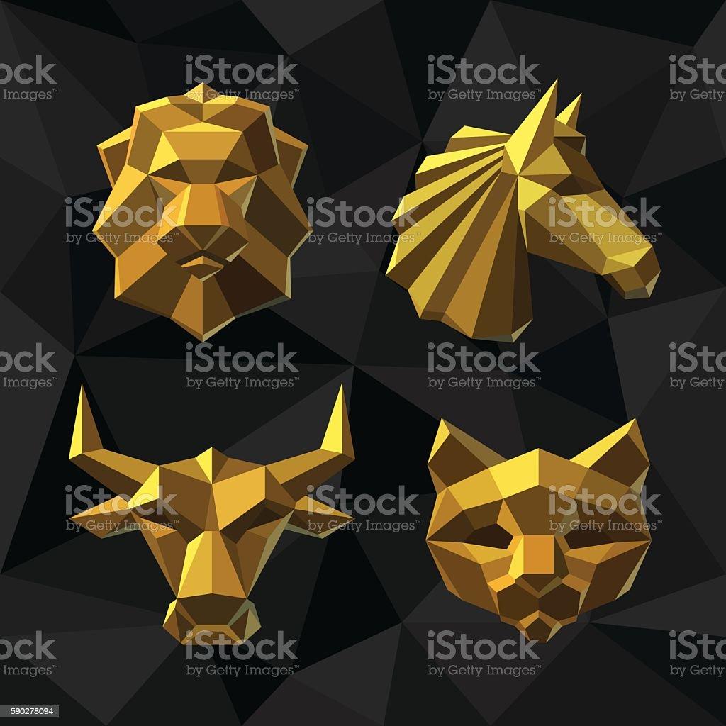 Vector illustration Golden animals Polygon style. vector art illustration