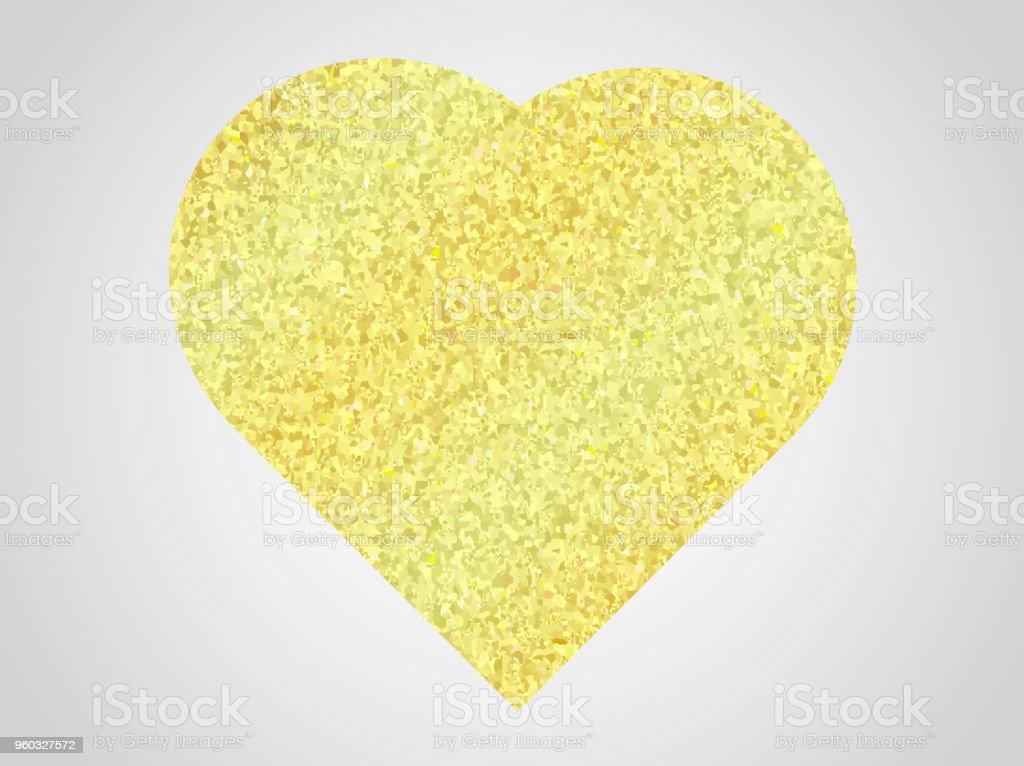 Vector illustration. Golden glitter effect. Heart sticker. vector art illustration