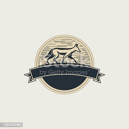 Vector Illustration Golden jackal Walking Vintage Badge.