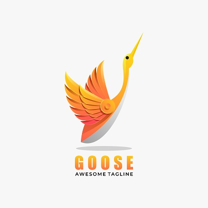 Vector Illustration Goose Gradient Colorful Style.