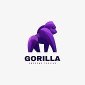 Vector Illustration Gorilla Gradient Colorful Style.