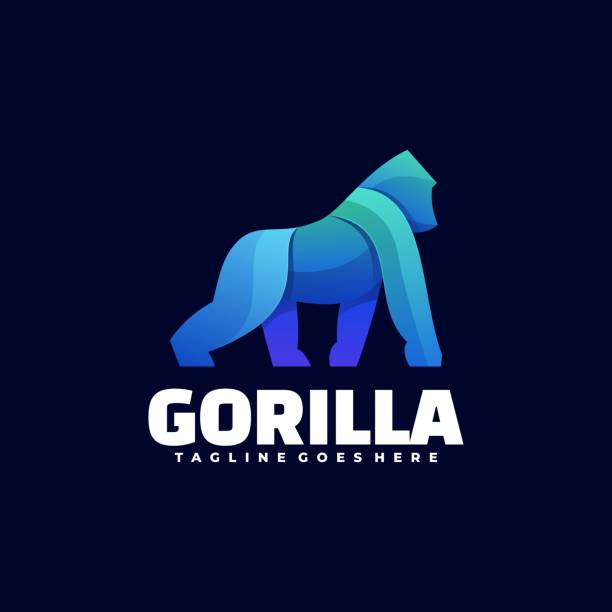 Vector Illustration Gorilla Gradient Colorful Style. Vector Illustration Gorilla Gradient Colorful Style. gorilla stock illustrations