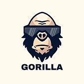 Vector Illustration Gorilla Simple Mascot Style.