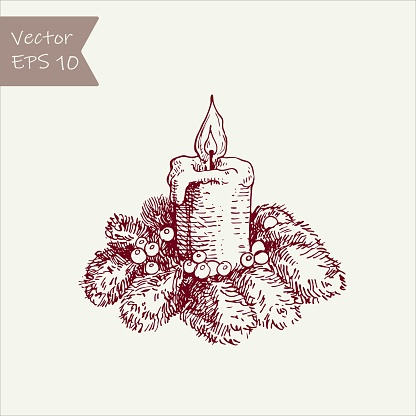 Vector illustration. graphic drawing candles and holly berries and leaves. sketch freehand pen and ink