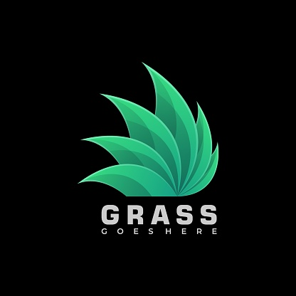 Vector Illustration Grass Gradient Colorful Style