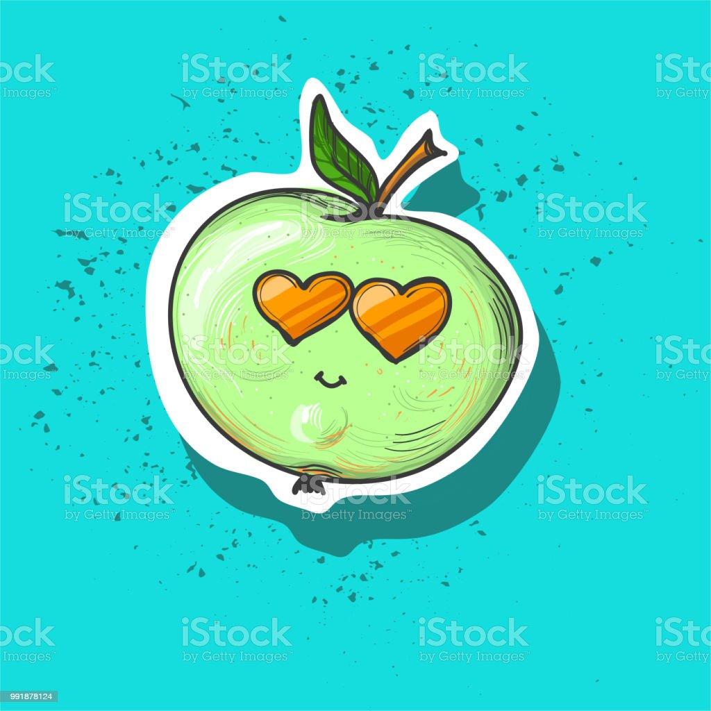 Tallo Verde Vector De Y Manzana Hoja Ilustración Con k0OXnw8P