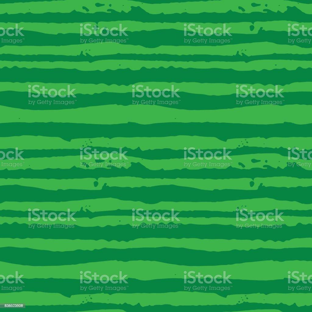 Vector Illustration green watermelon striped seamless hand drawn pattern. vector art illustration