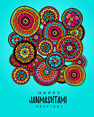 Vector illustration, greeting card, poster or banner for indian festival of Happy Kishna Janmashtami celebration.