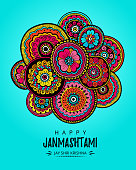 Vector illustration, greeting card, poster or banner for indian festival of Happy Kishna Janmashtami celebration.