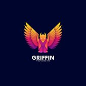 Vector Illustration Griffin Mythology Pose Gradient Colorful.