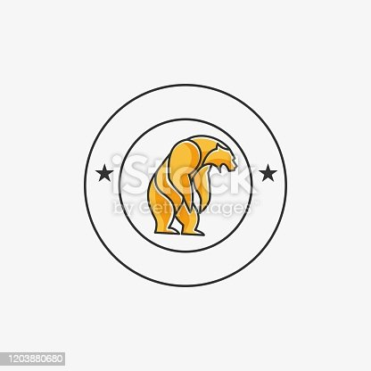 Vector Illustration Grizzly Bear Vintage Badge.