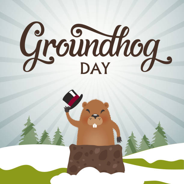 vector illustration. groundhog day - hibernation stock illustrations