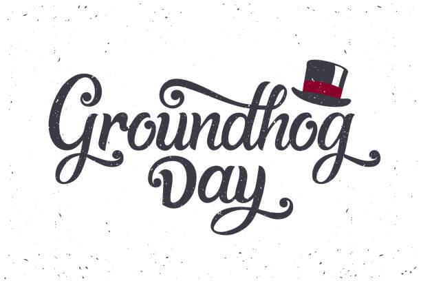 ilustraciones, imágenes clip art, dibujos animados e iconos de stock de ilustración vectorial. el día de la marmota - groundhog day