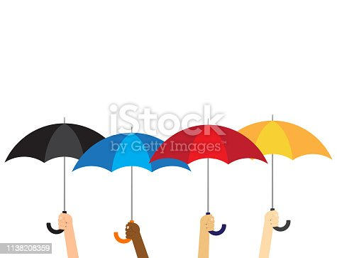Vector illustration group of hands holding umbrellas isolated on white background