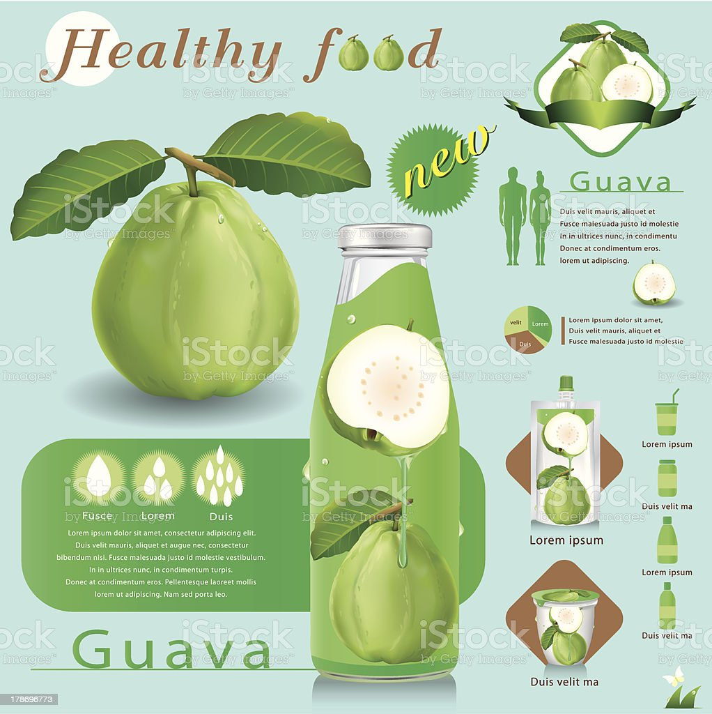 Vector illustration . Guava juice package infographics royalty-free stock vector art