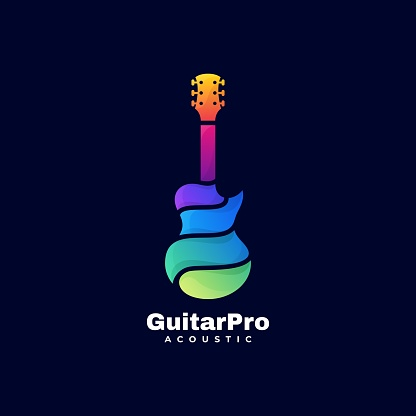 Vector Illustration Guitar Pro Gradient Colorful Style.