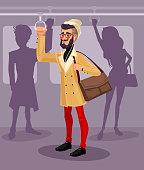 Vector illustration guy in a public transport
