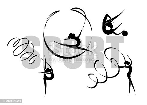 Vector illustration abstract silhouette of a girl in rhythmic gymnastics. Gymnastics strength, acrobatics, juggling. Sports concept.