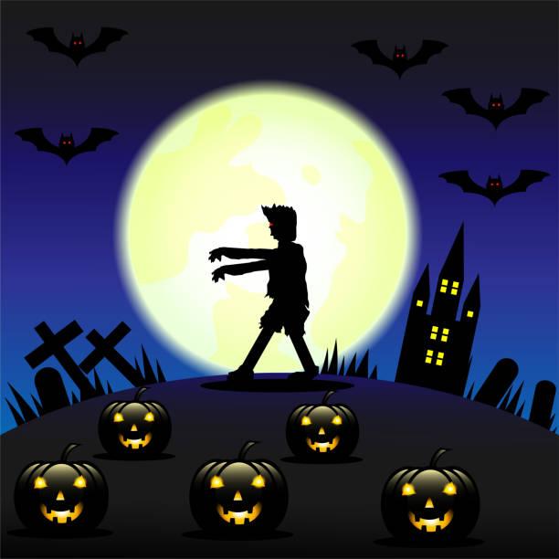 Vektor-Illustration Halloween-Hintergrund mit Zombie und der Mond – Vektorgrafik