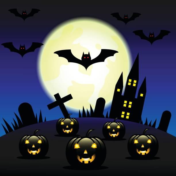 Vektor-Illustration-Halloween-Kürbisse und dunkle Burg auf Mond Hintergrund – Vektorgrafik