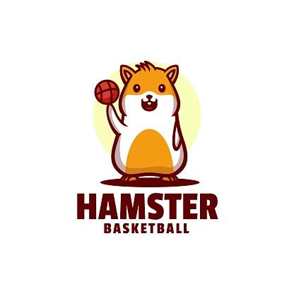 Vector Illustration Hamster Basketball Mascot Cartoon Style.