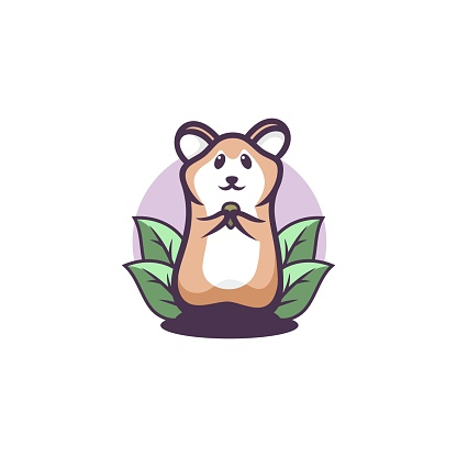 Vector Illustration Hamster Simple Mascot Style.