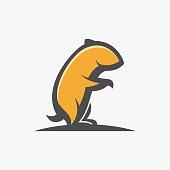 Vector Illustration Hamster Sitting Mascot Cartoon.