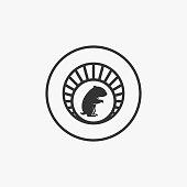Vector Illustration Hamster Sitting Vintage Badge.