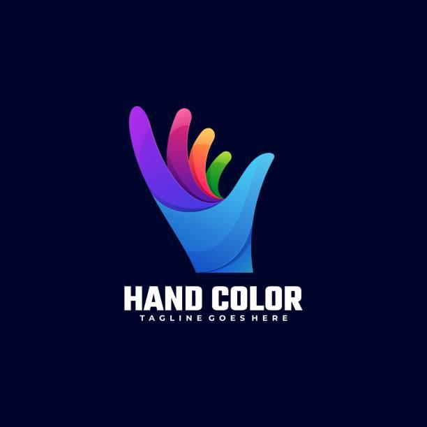 vektor-illustration hand farbe farbverlauf bunten stil. - menschliches körperteil stock-grafiken, -clipart, -cartoons und -symbole