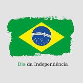 Vector Illustration. Hand draw Brazil flag. National Brazil banner for design. Dia da Independencia of Brazil