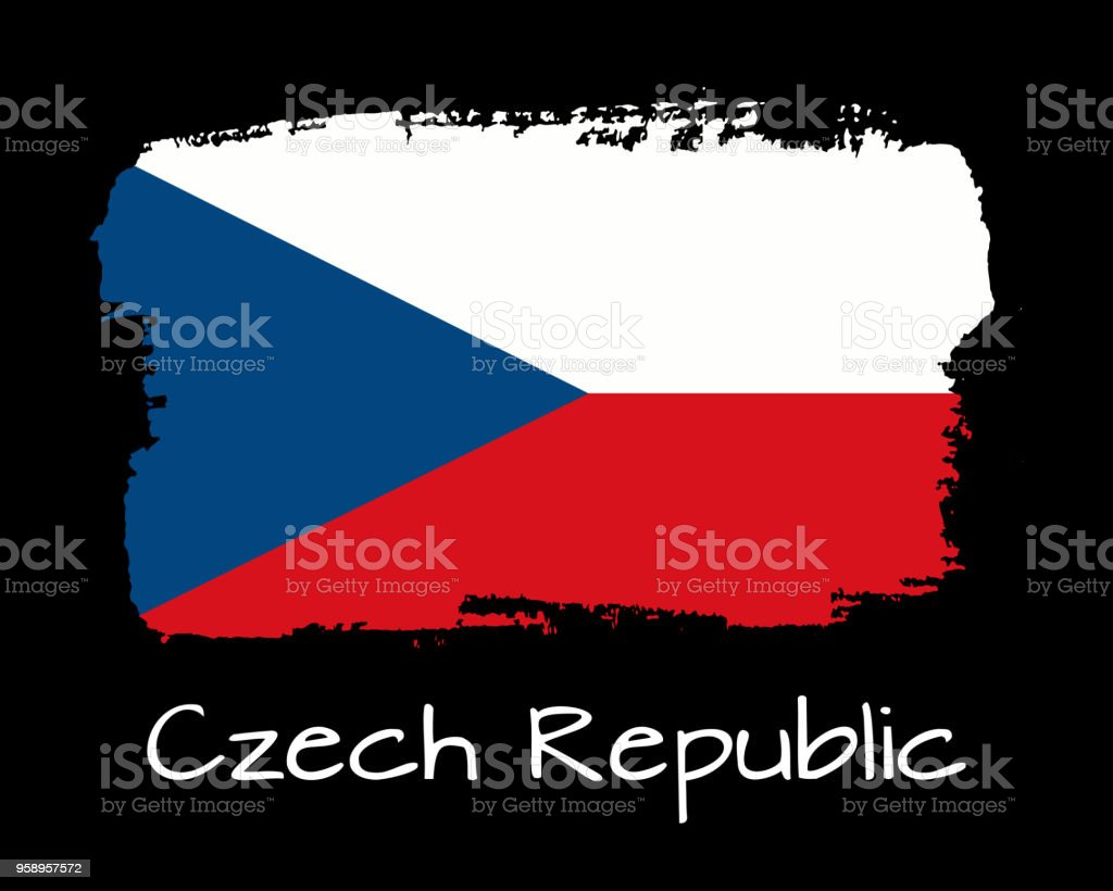 Vector Illustration Hand Draw Czech Republic Flag National Czech
