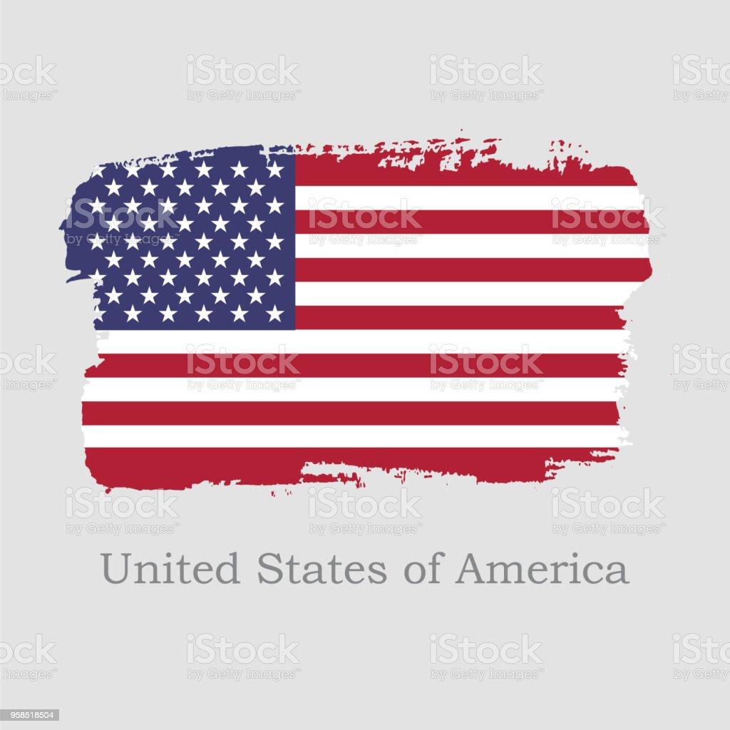 Ilustración De Ilustración De Vector Mano Dibujar Bandera Usa