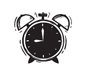 Vector illustration: Hand drawn Alarm Clock on white background