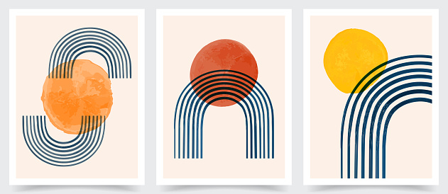 Vector illustration. Hand drawn art. Abstract posters set. Contemporary backgrounds. Mid century wall decor. Design elements for postcard, book cover, flyer, brochure, gift card. 50s, 60s graphic.