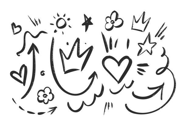 ilustracja wektorowa: ręcznie rysowane czarne elementy szkicu ustawione na białym tle. - bazgroły rysunek stock illustrations