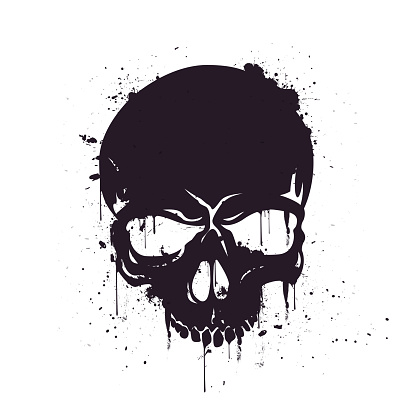 Vector Illustration Hand Drawn Black Skull With Splash Effects.