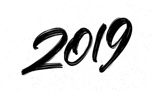 Vector illustration: Hand drawn brush ink lettering of 2019. Happy New Year. Chines calligraphy. vector art illustration