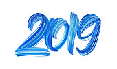 Vector illustration: Hand drawn brush stroke blue paint lettering of 2019. Happy New Year